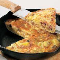 Tortilla de panceta y verduras #recipes #cuisine
