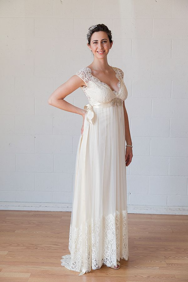claire pettibone queen annes lace boho wedding dress try it on at home