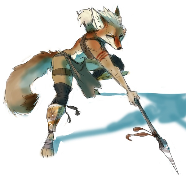 e621 action canine coyote dynamic female loincloth mila polearm pose skimpy solo spear stab sulacoyote warrior