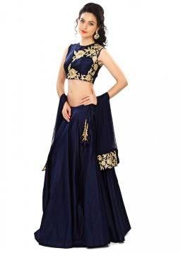 Kapadewala Latest Blue Banglori Silk Embroidered Semi Stitched Free Size XXL Lehenga Choli for Women
