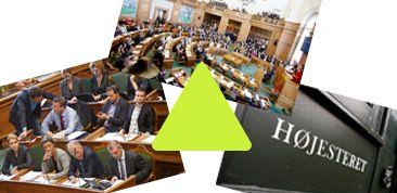 Den lovgivende-, den udøvende- og den dømmende magt.