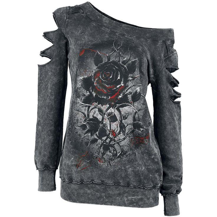 "Alchemy England Sweatshirt, Women ""Roses nest"" black • EMP"