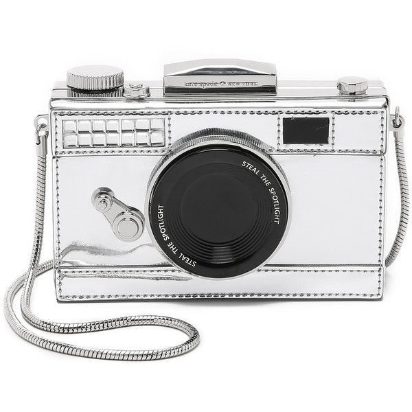 Kate Spade New York Camera Cross Body Bag (£270) ❤ liked on Polyvore featuring bags, handbags, shoulder bags, silver, leather crossbody purse, white leather shoulder bag, crossbody purse, leather cross body purse and crossbody handbags