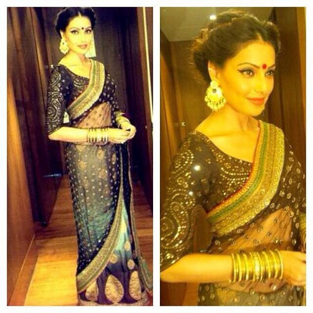 She is gorgeous...love the blouse...Bipasha Basu in saree