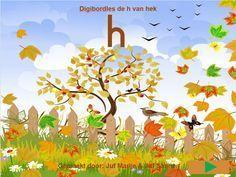 digibord les rond de letter h van herfst