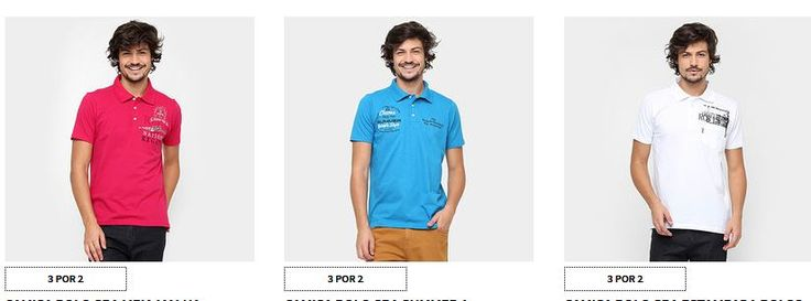 Zattini - 3 Camisas Polo Masculinas - Várias Cores e Modelos << R$ 7980 >>