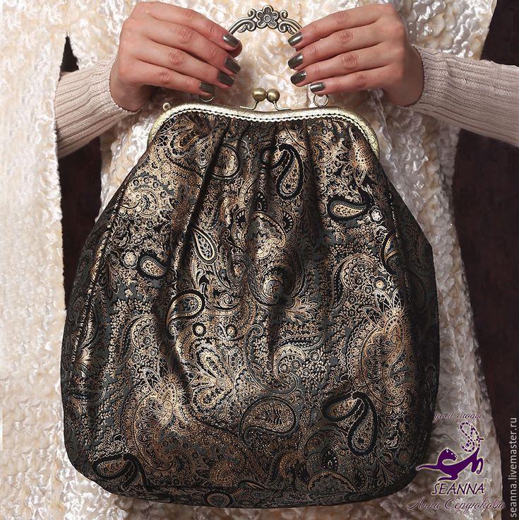 """Купить Эффектная сумка из замши с золотым рисунком """"Восточный орнамент"""" - сумка…"""