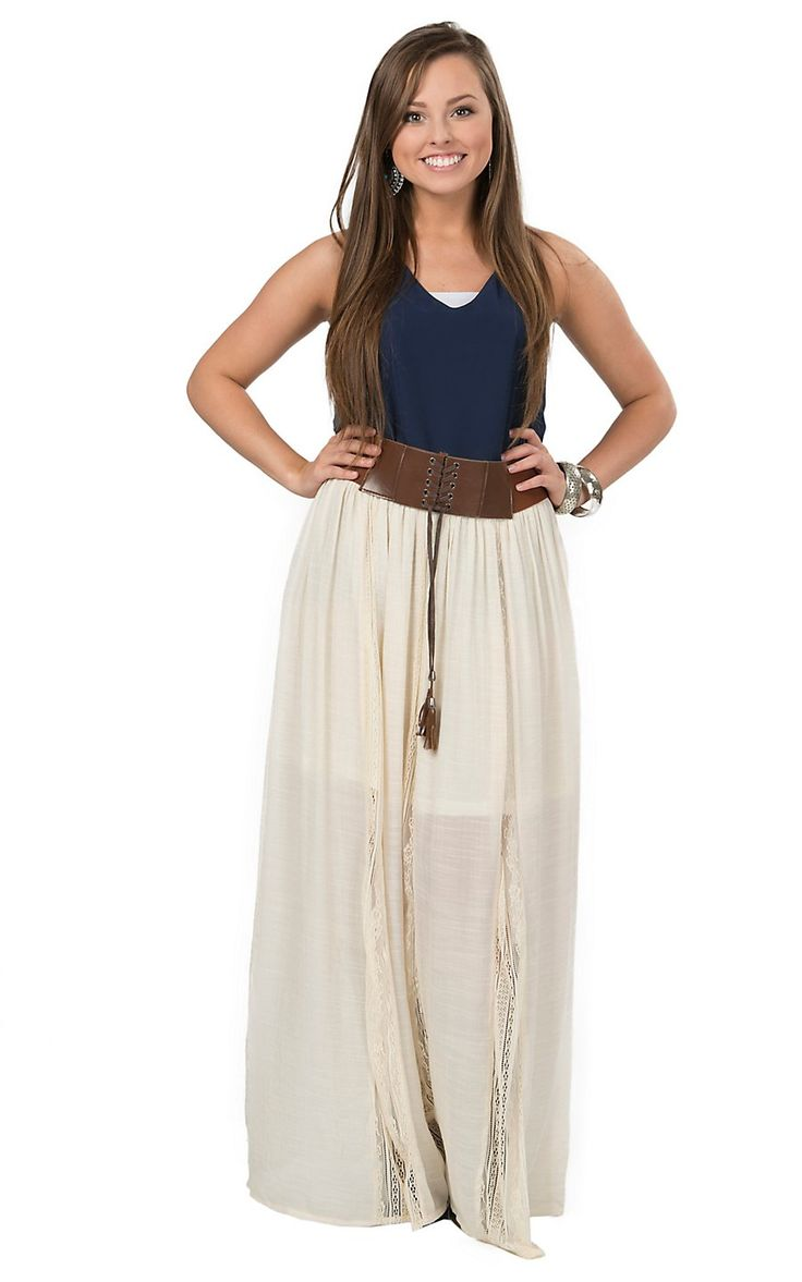 Double Zero Women's Cream with Lace Inset Belted Peasant Style Skirt | Cavender's