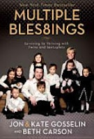 Multiple blessings: surviving to thriving with twins and sextuplets by Jon Gosselin, Kate Gosselin, Beth Carson  After the emotional rollercoaster ride of dealing with infertility, Kate and her husband, Jon, rejoiced in the birth of their twin daughters. Three years later, they were pregnant again--with sextuplets. Their quiver was filling fast--a little too fast--and happy wasn't exactly their first reaction.