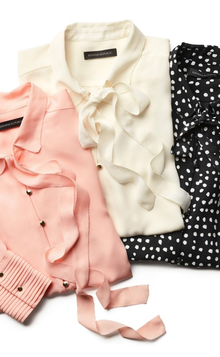 Instantly add a touch of elegance to your look by pairing our ultra feminine crepe tie neck blouse with your favorite pencil skirt or trousers | Banana Republic