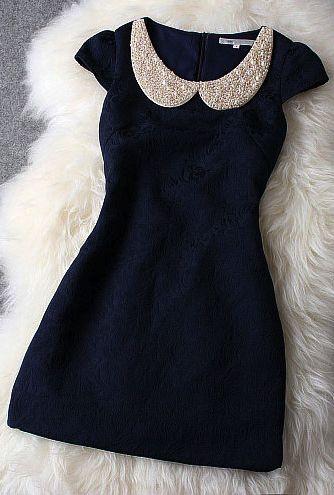 Dark Blue Dress With Pearl Beaded Collar