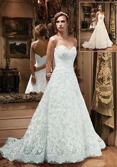 A line Sweetheart Chapel Train With Appliques Lace Elegant Wedding Dresses - 1300103142B - US$259.99 - BellasDress