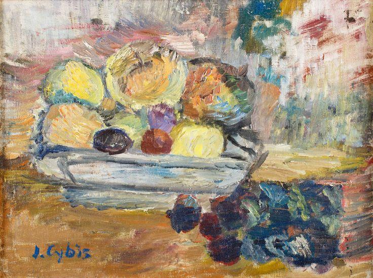 JAN CYBIS (1897 - 1972)  ŚLIWKI I JABŁKA W SALATERCE, 1949   olej, płótno / 38 x 50 cm