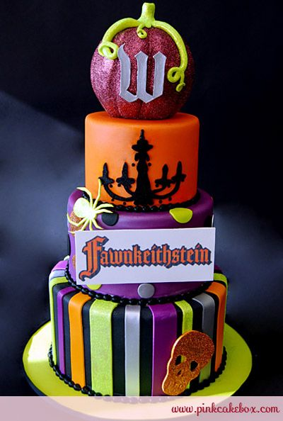 Engagement Party Halloween Cake by Pink Cake Box in Denville, NJ.  More photos at http://blog.pinkcakebox.com/engagement-party-halloween-cake-2010-11-30.htm  #cakes