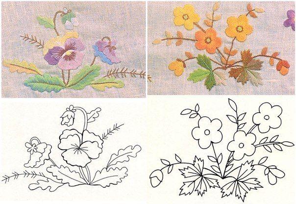 patrones para bordar flores a mano