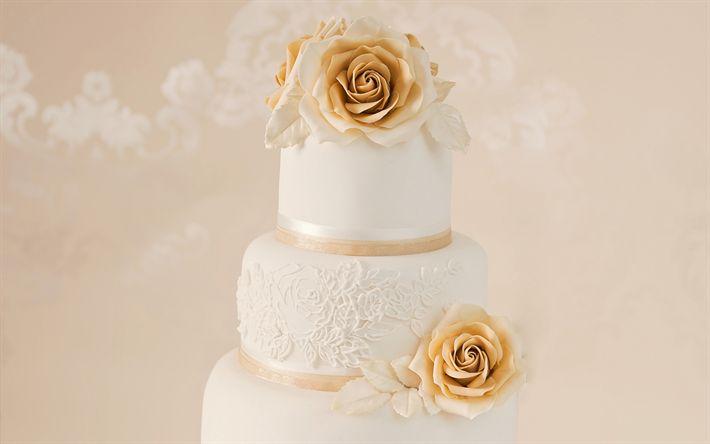 Download imagens Bolo de casamento, rosas de ouro, a decoração do bolo, casamento, doces, bolos