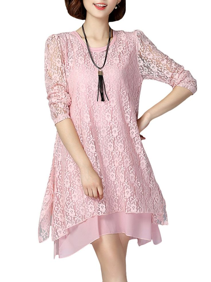 Specification:  Material:Lace Style:Elegant Pattern:Pure Color Color:Pink,Gray,Black Sleeve Length:Long Sleeve Season:Spring,Fall    Package included:  1*Dress
