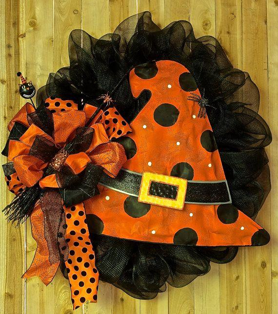 Witch Hat Halloween Wreath wGlitter Broom  by SignsStuffnThings, $124.99