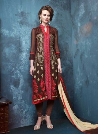 Lustre Wine Designer Georgette Churidar Suit