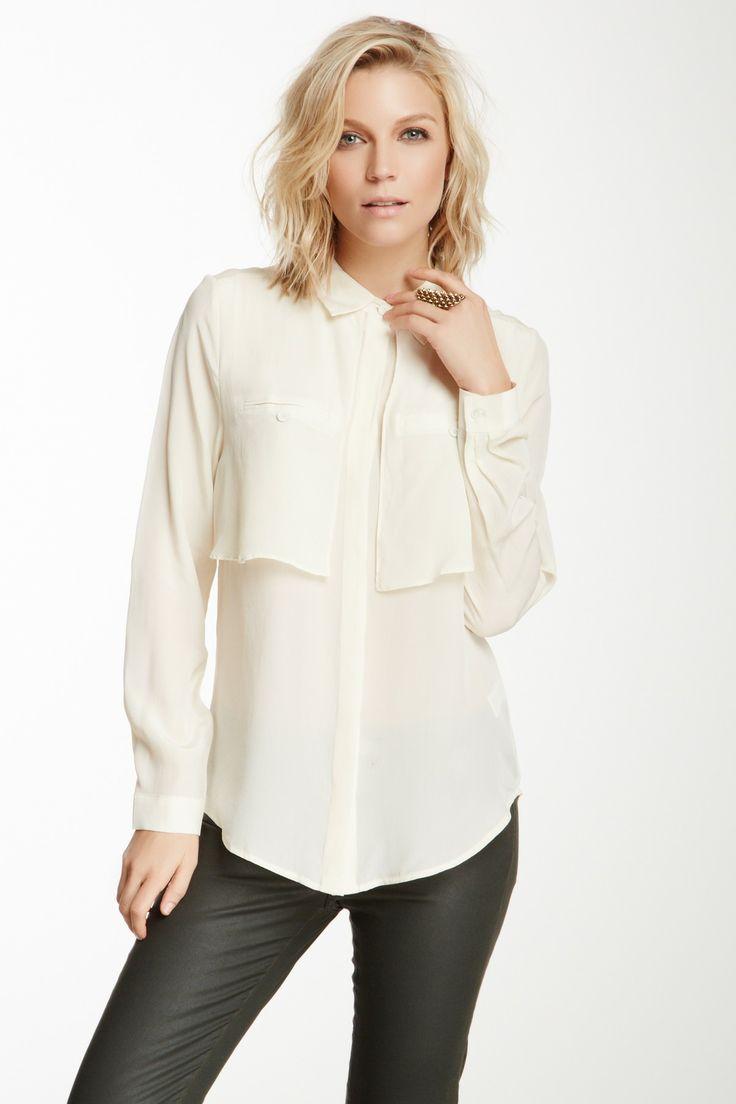 Long Sleeve Pocket Silk Blouse