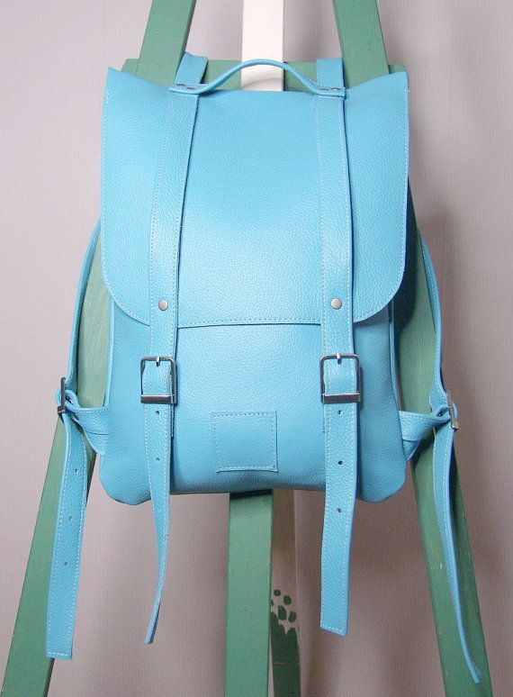 Skyblue leather backpack rucksack / To order by kokosina on Etsy $115