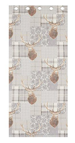 From 19.99 Catherine Lansfield Heritage Stag Eyelet Curtains Grey 66x72-inch