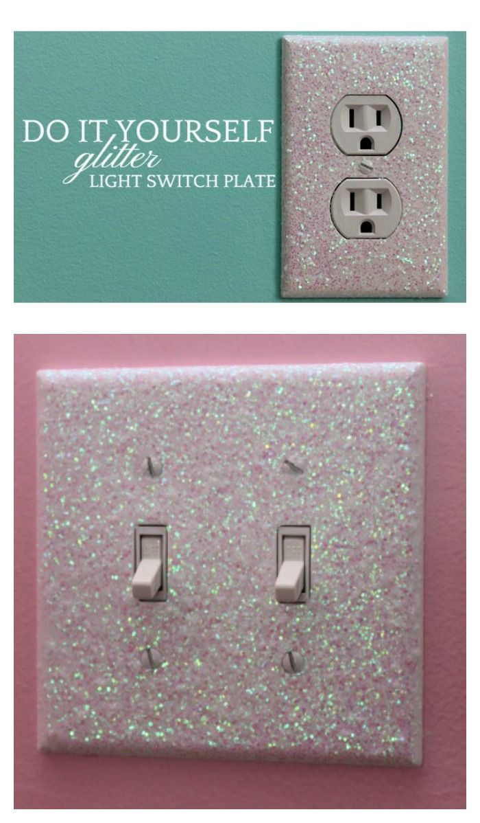 Decorative Light Switch Covers Free Glittery Tutorial Glitter Light Switches Bedroom Diy Room Diy