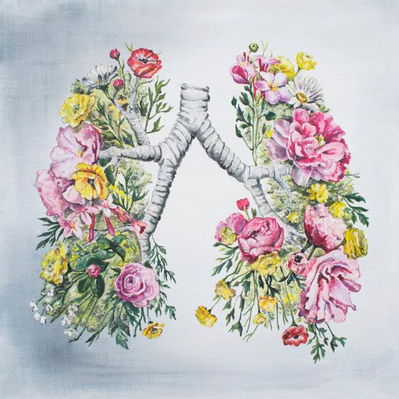 Floral Anatomy Lungs Print of Oil Painting 8x8 by tinyartshop, $25.00