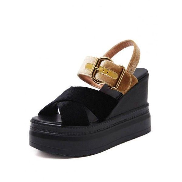 Platform Buckle Strap Velvet Sandals (13.090 HUF) ❤ liked on Polyvore featuring shoes, sandals, zaful, platform sandals, black platform shoes, golden sandals, velvet platform shoes and kohl shoes