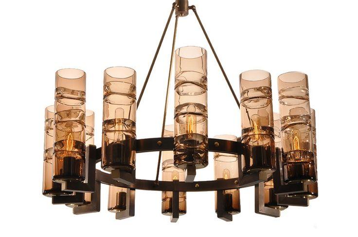 Wine Cellar Chandelier  MidCentury  Modern, Glass, Metal, Chandelier by Studio Bel Vetro