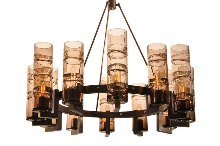 Wine Cellar Chandelier  MidCentury  Modern, Glass, Metal, Chandelier by Studio Bel Vetro