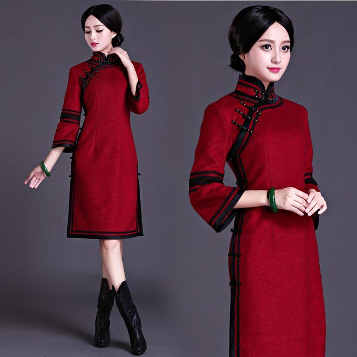 Bell sleeve wine red woolen qipao vintage Chinese winter cheongsam   Modern Qipao