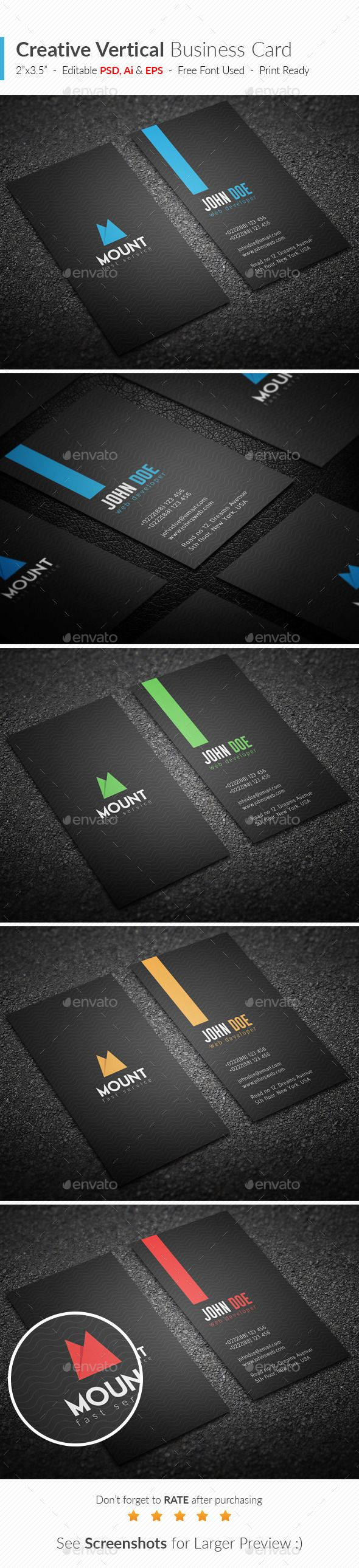 Creative Vertical Business Card Template #design #visitenkarte Download: http://graphicriver.net/item/creative-vertical-business-card/12275983?ref=ksioks