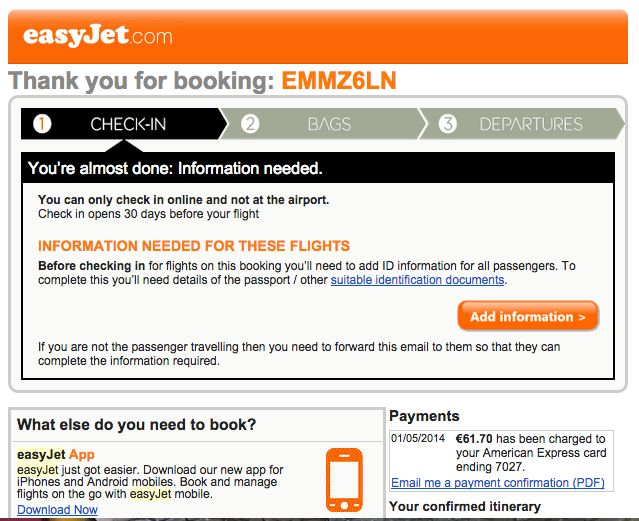 Easyjet confirmation email TOV relaxed corporate Pinterest - confirmation email template
