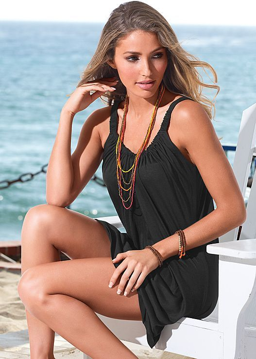 Don't let your day at the beach end. Just throw this cover-up on top of your bikini and keep the day going! Venus gathered neckline dress.