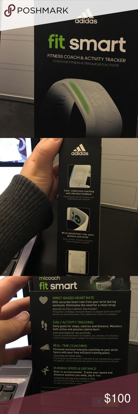 Adidas Fit Smart - Fitness and Activity Monitor Provides visual coached guidance for workout intensity to keep you on track, motivated and training smart and effectively. This sport fitness watch syncs wirelessly with miCoach train & run app. adidas Other