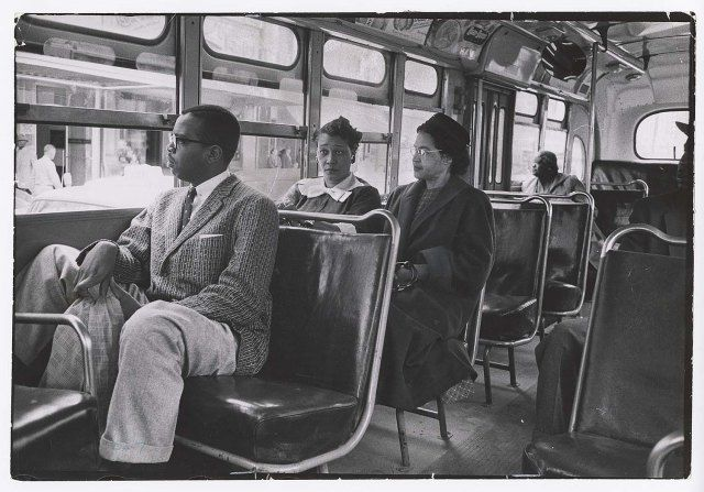 Don Cravens, [Rosa Parks riding on newly integrated bus following Supreme Court ruling ending successful 381-day boycott of segregated buses, Montgomery, Alabama], 1956