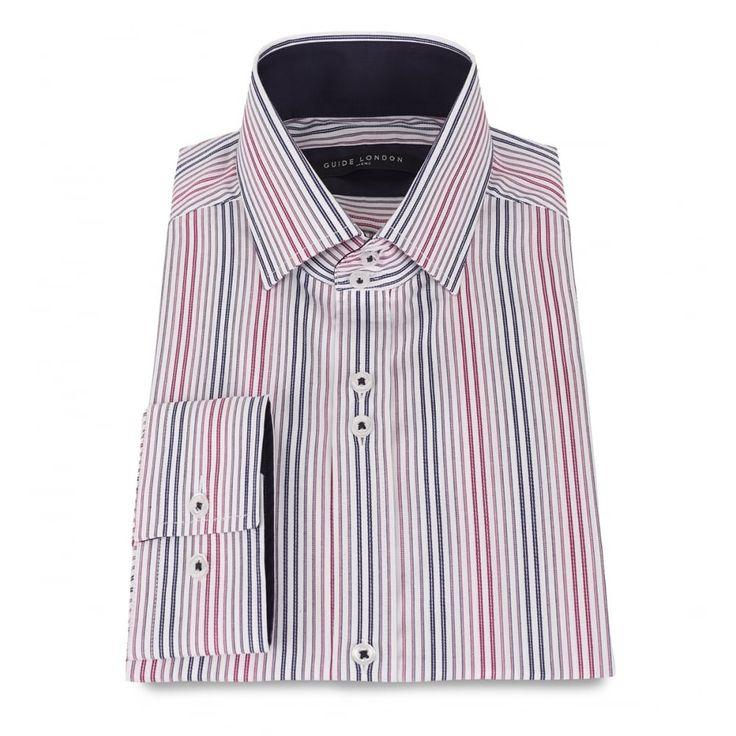 Guide London White/Red Stripe Trimmed Long Sleeve Shirt