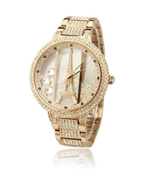 New Arrival Colorful Crystal Quicksand Eiffel Tower Style Stainless Steel Band Watch For Women......I LOVE LOVE LOVE THIS WATCH!!!
