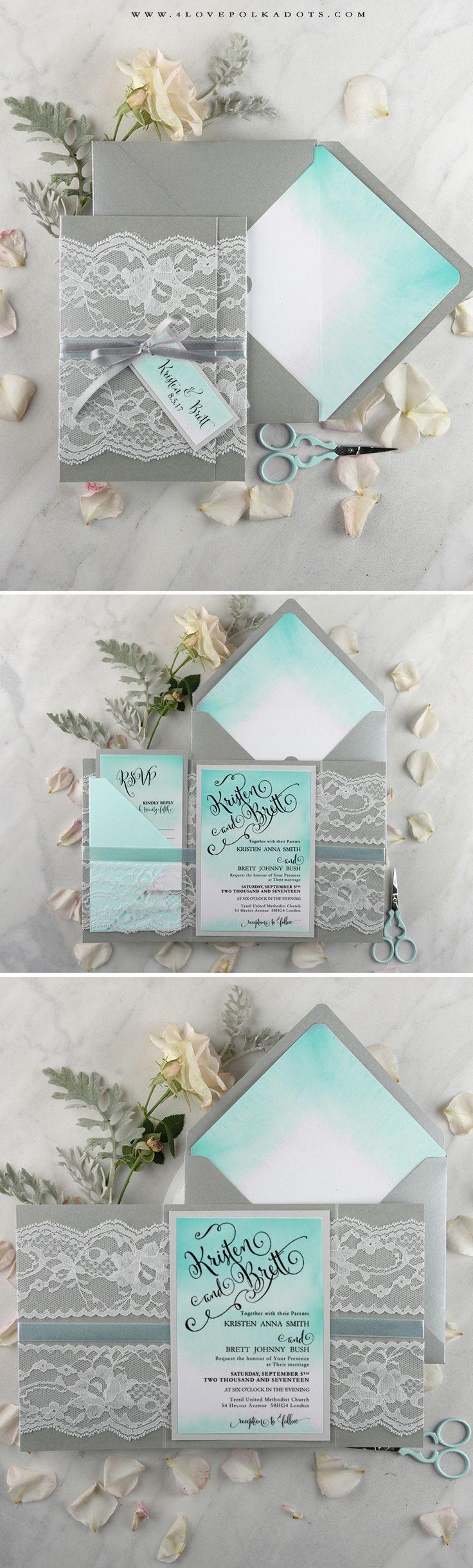 Ombre Wedding Invitation with lace #handmade #weddingideas #summerwedding