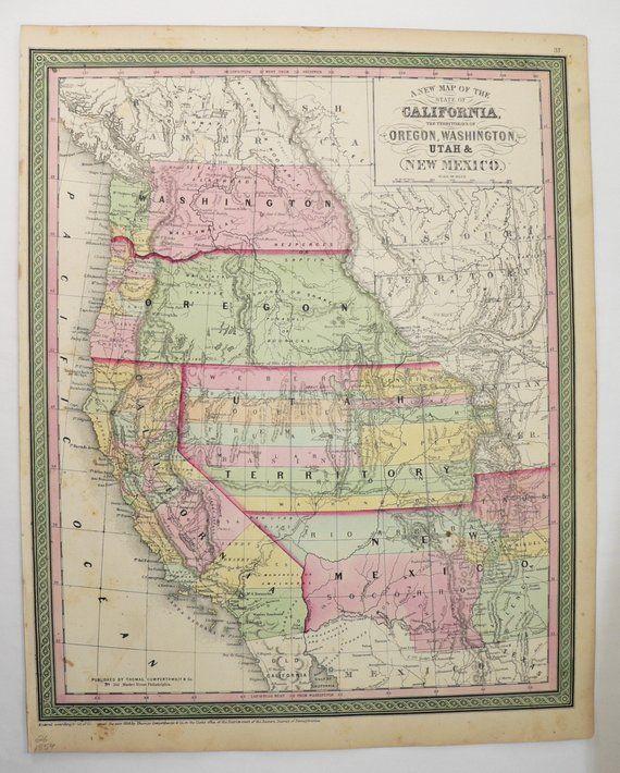 1854 Mitchell Map Of Western United States California Washington - 1854-us-map