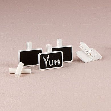 Miniature Rectangular Wooden Black Board Clip with White Wash Finish