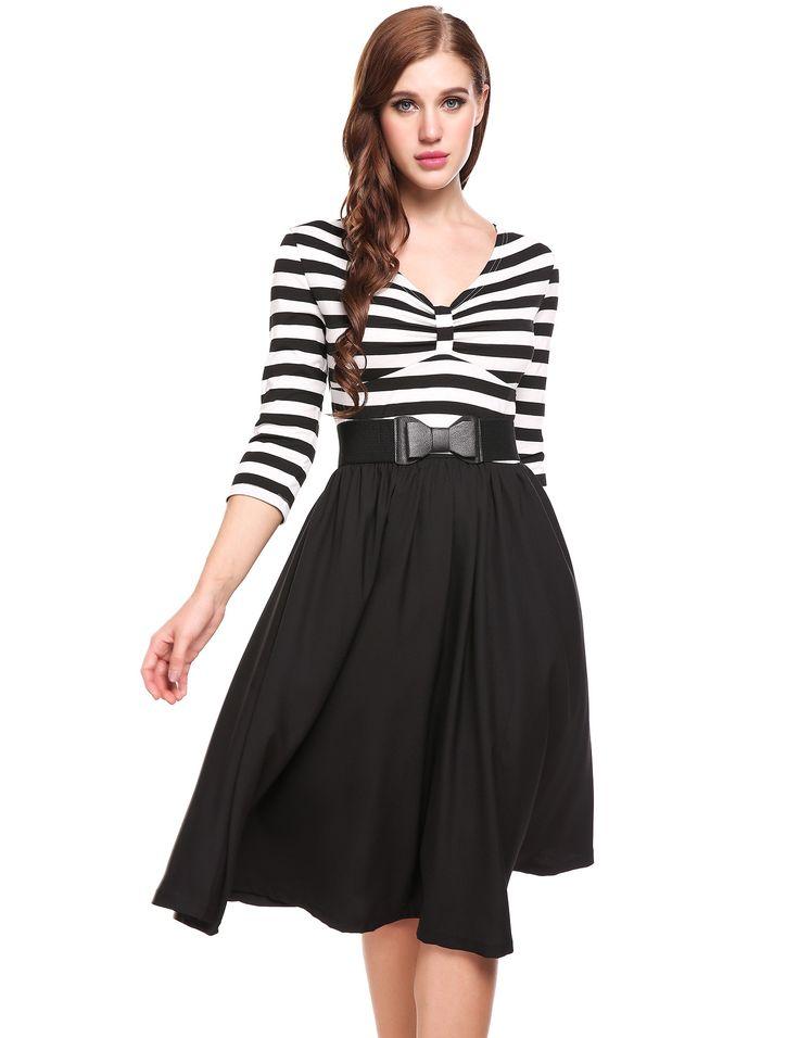 Black 1950s Vintage Styles V-Neck Three Quarter Sleeve Striped Patchwork A-Line Pleated Hem Dress