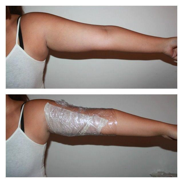 How to wrap arms: Cut ultimate body applicator in half. Apply widest end towards armpit. Wrap securely, but not too tightly, in Saran Wrap. 45 minutes later, enjoy tighter and firmer skin.