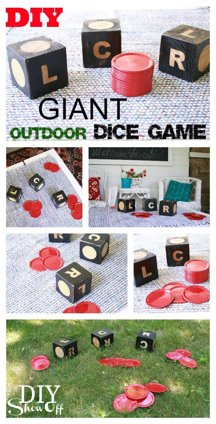 This really is genius!!!  I might have to work on this after my other projects are done... Haha I might have a yard by then! ;)    DIY Outdoor Giant Dice Game (LCR)