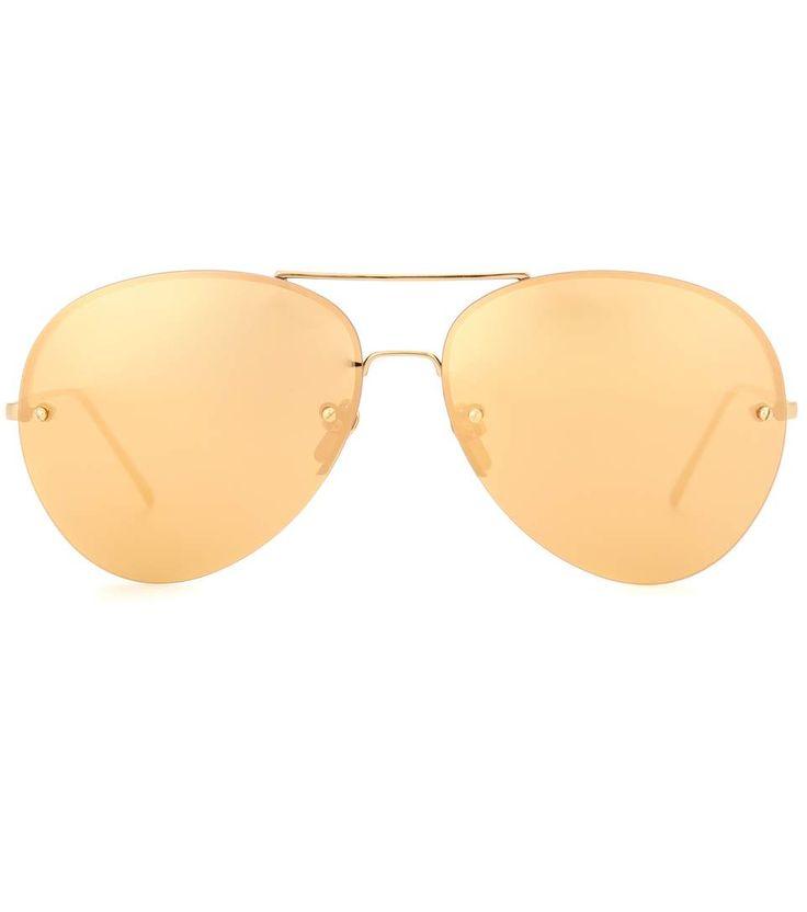 LINDA FARROW Gold-Plated Aviator Sunglasses. #lindafarrow #current week