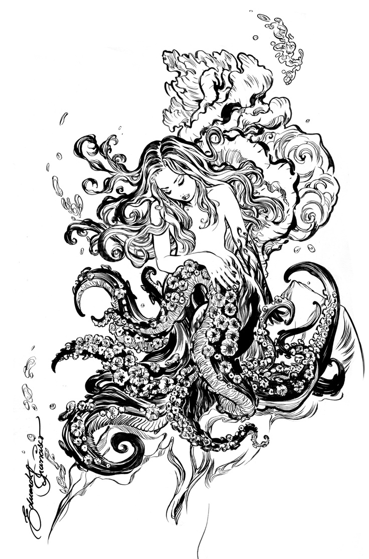 Seashell octopus woman tattoo inspiration