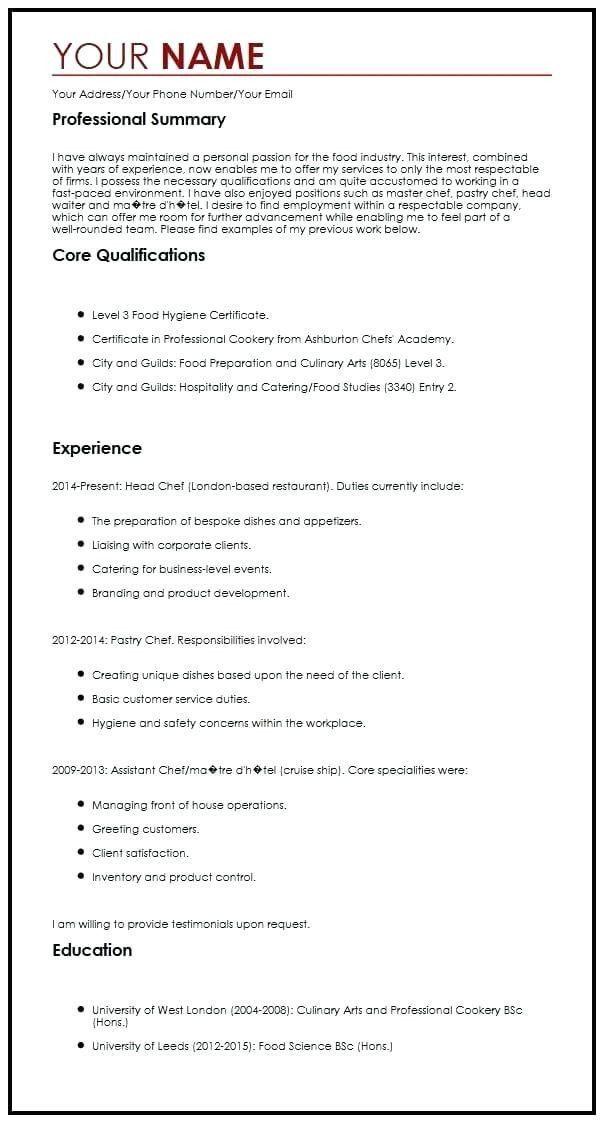 Resume Personal Statement Example Einzigartig Ex Mission Chef
