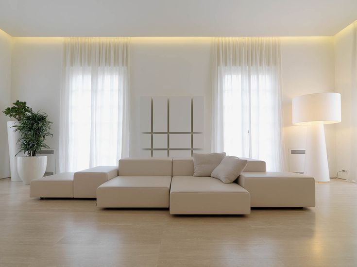 White Leather Sofa, Minimalist Interior in Tuscany, Italy