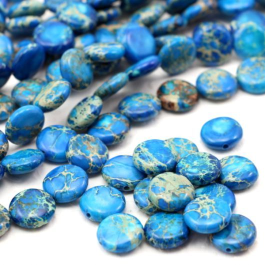 Jaspis lazurowe wybrzeże moneta niebieska 12mm